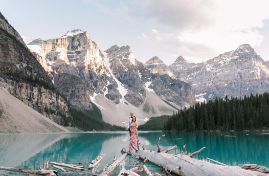 Moraine Lake Summer Elopement Ben and Kami flower dress