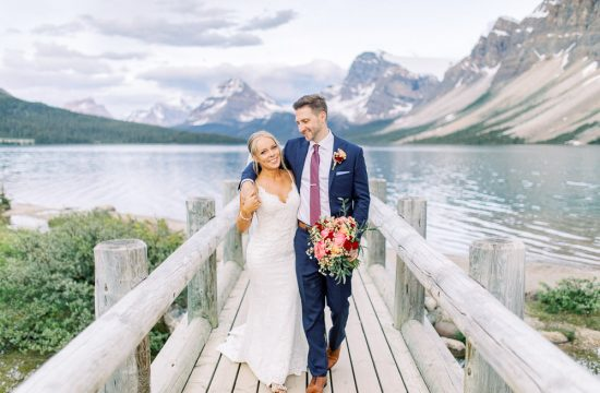 Bow Lake bridge wedding couple portrait