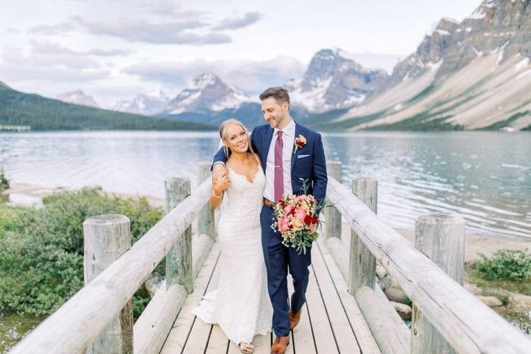 Bow Lake bridge wedding couple portrait