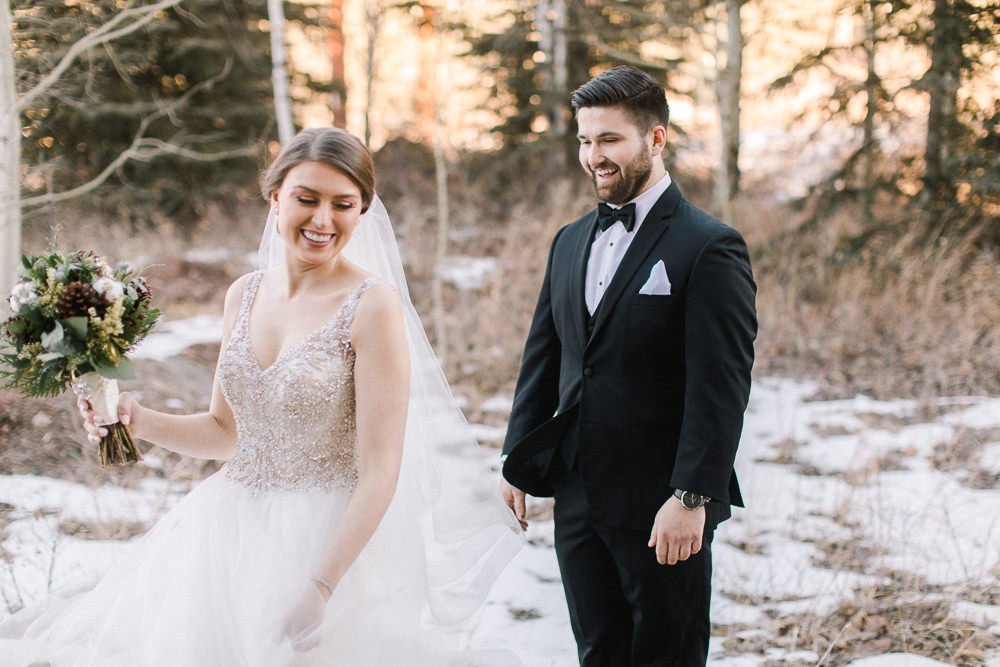 Calgary wedding photography-Silvertip New years eve wedding canmore first look