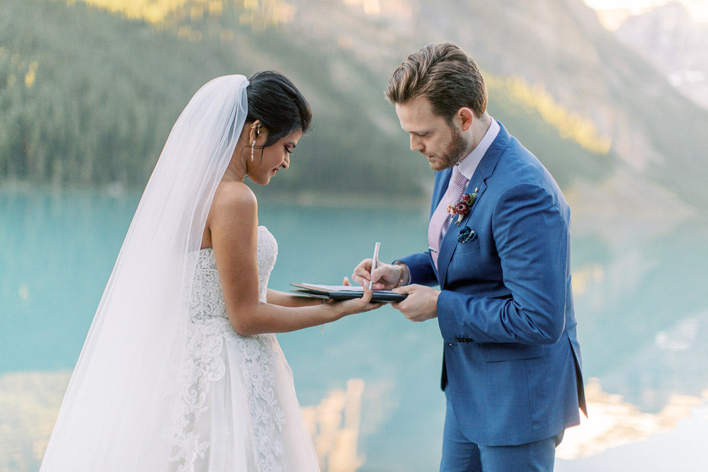 Banff wedding photography Lake Louise sunrise ceremony