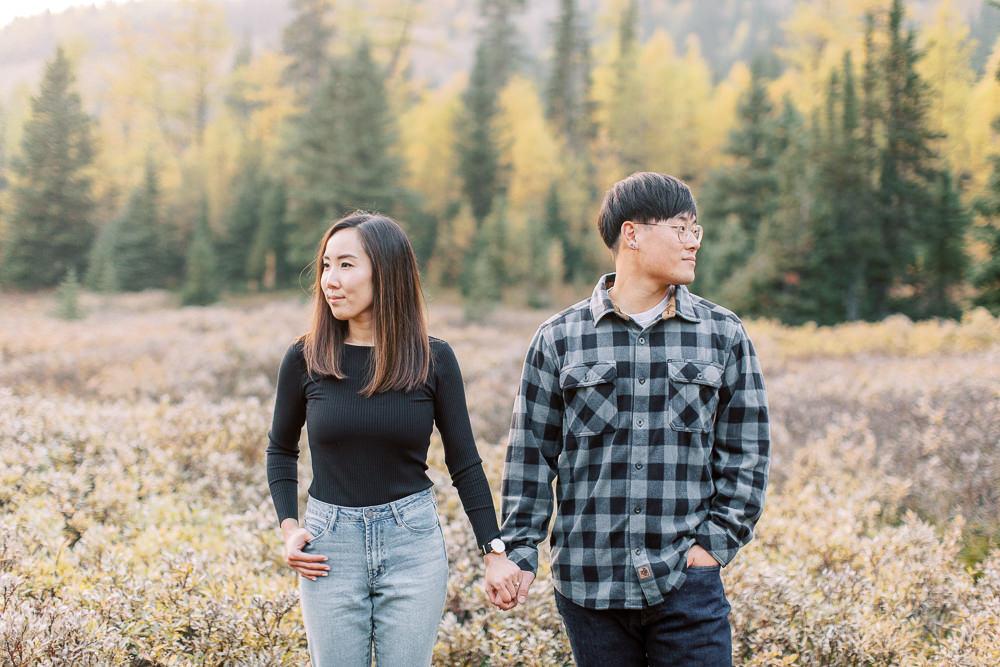 Banff fall engagement session couple portrait