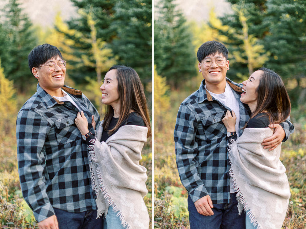 Banff fall engagement session couple laughing