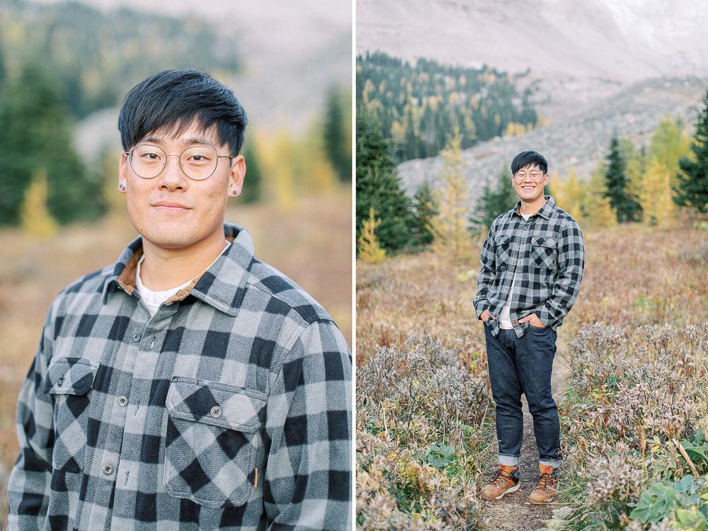 Banff fall engagement session portrait him