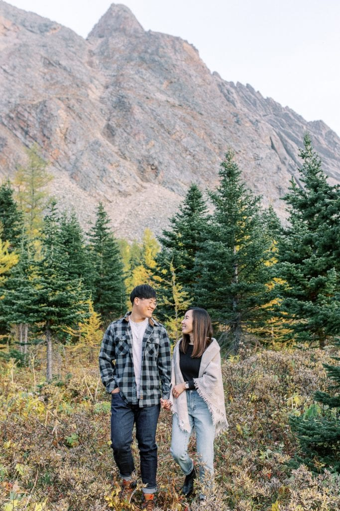 Banff fall engagement session rocky mountains