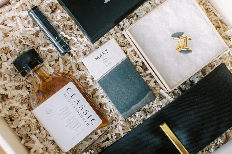 Banff wedding photography groom gift box