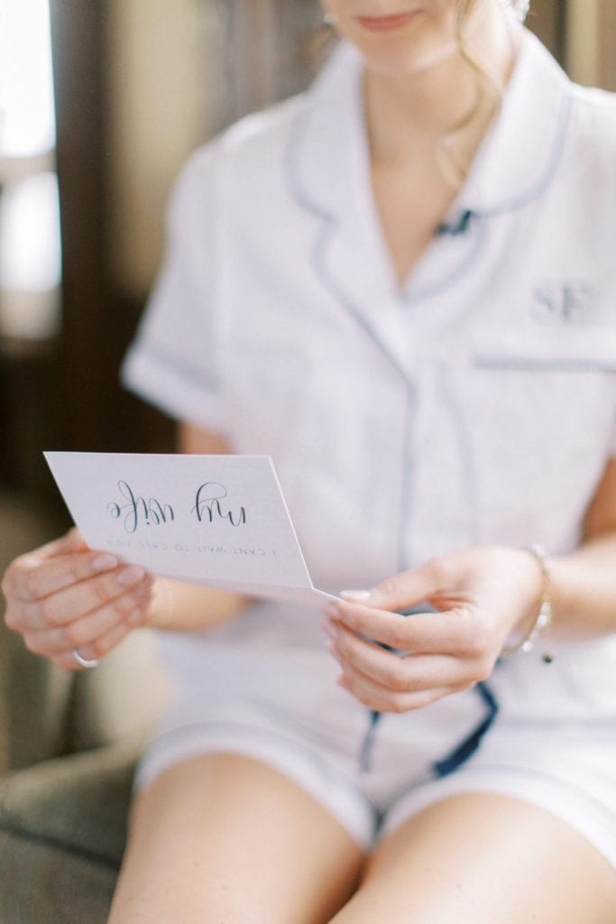Banff wedding photography bride reading letter