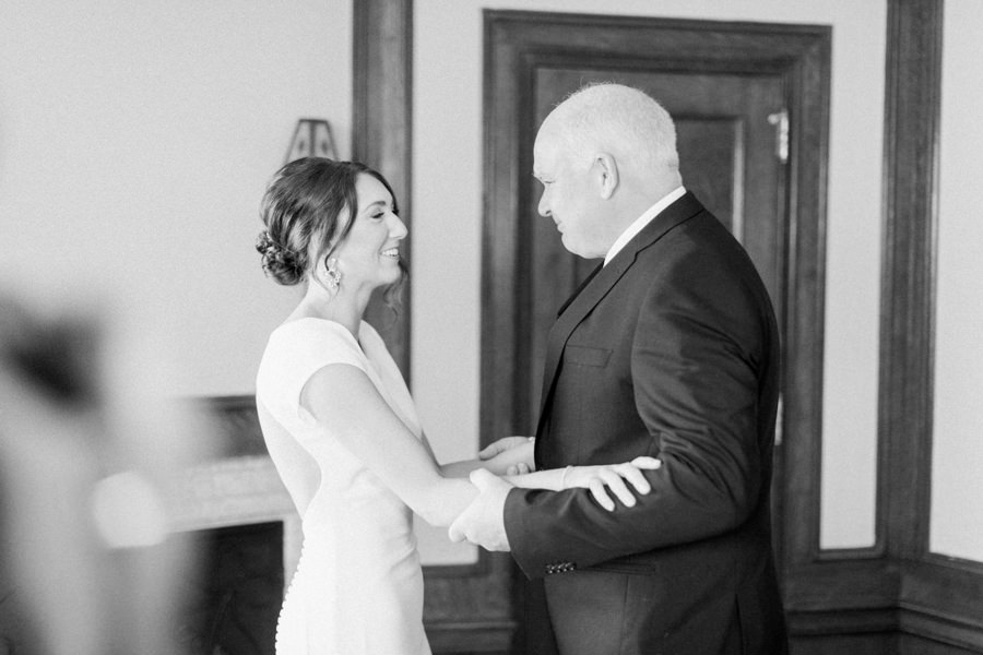 Banff wedding photography bride and father first look
