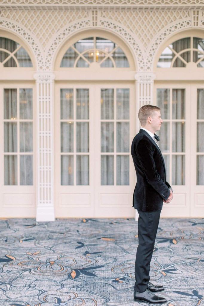 Banff wedding photography groom first look