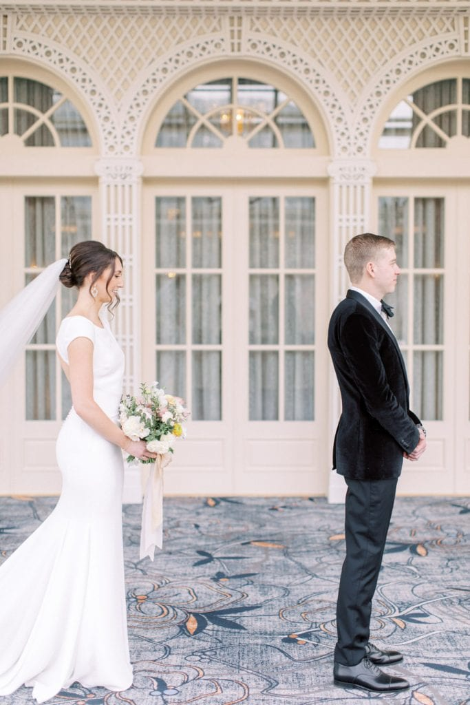 Banff wedding photography  first look with couple