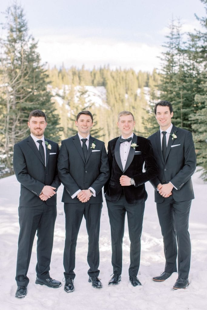 Banff wedding photography bridal party groomsmen