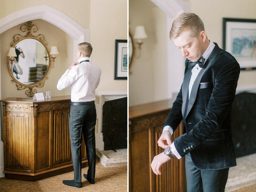 Banff wedding photography groom  getting dressed