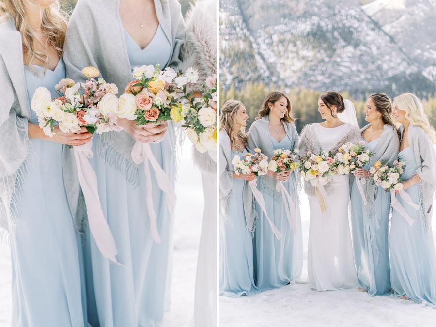 Banff wedding photography bridal party bridesmaids