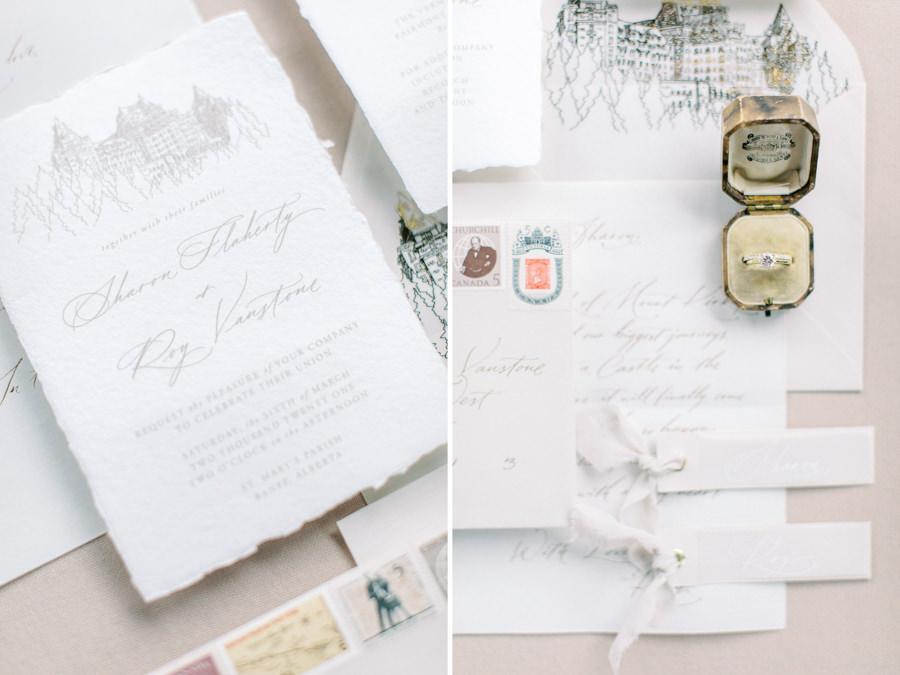 Banff wedding photography stationary details